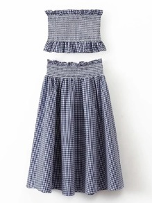 Grid Crop Top With Elastic Waist Skirt