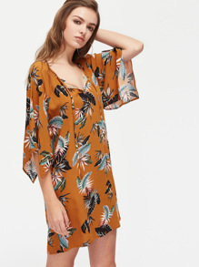 Tie Neck Handkerchief Cape Sleeve Tropical Dress