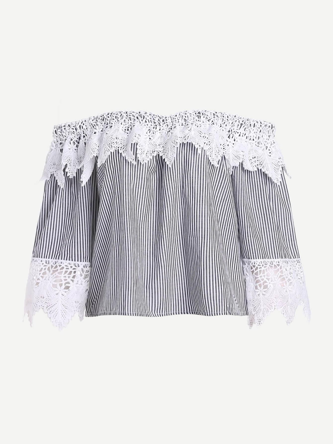 Фото Bardot Contrast Lace Top. Купить с доставкой