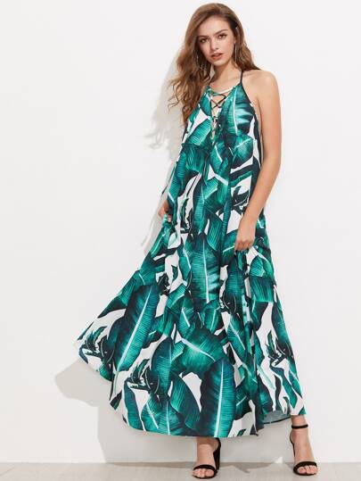 Jungle Leaf Print Lace Up Plunge Halter Neck Dress