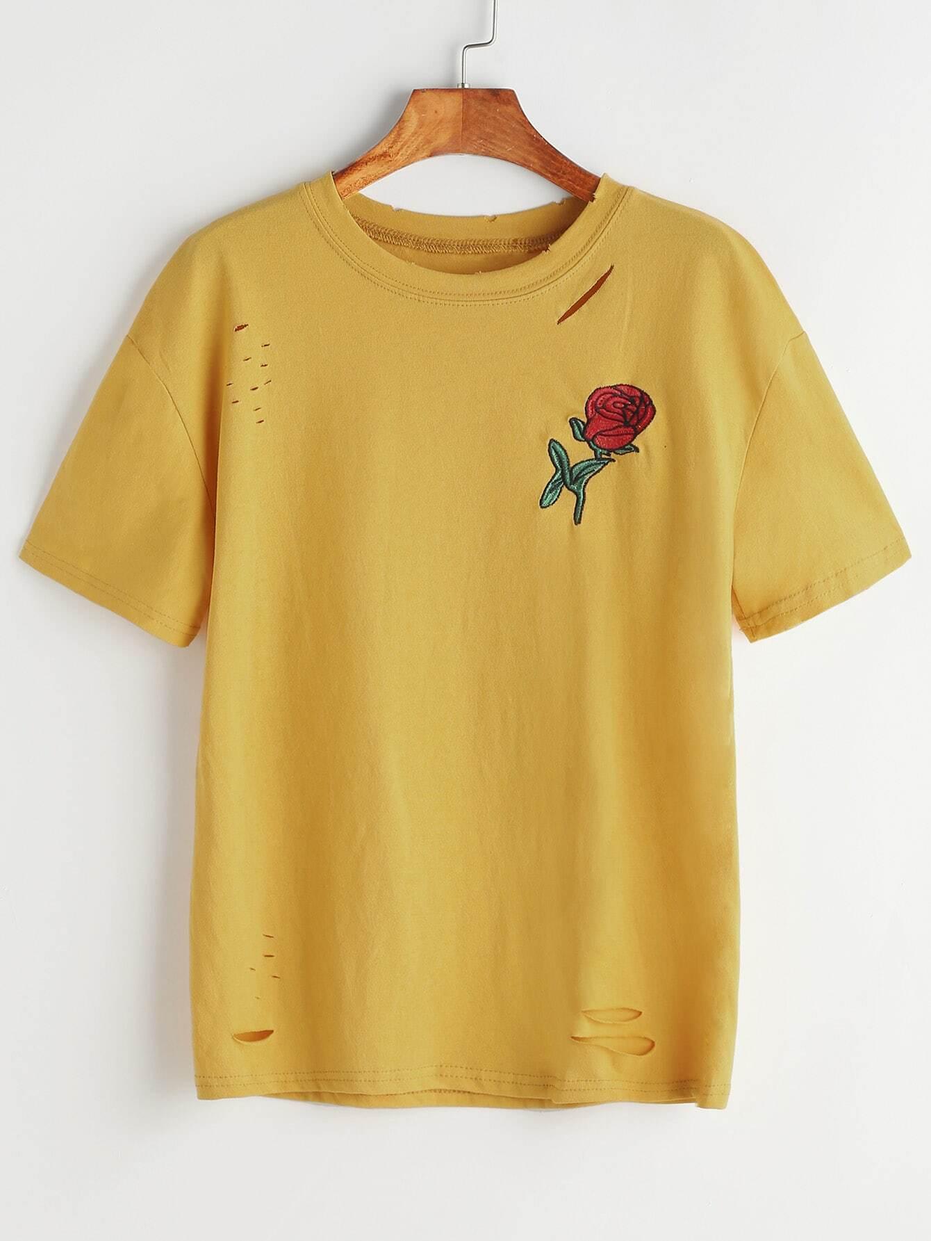 Rose embroidered slashed t shirt shein sheinside