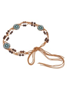 Flower Shaped Detail Woven Belt