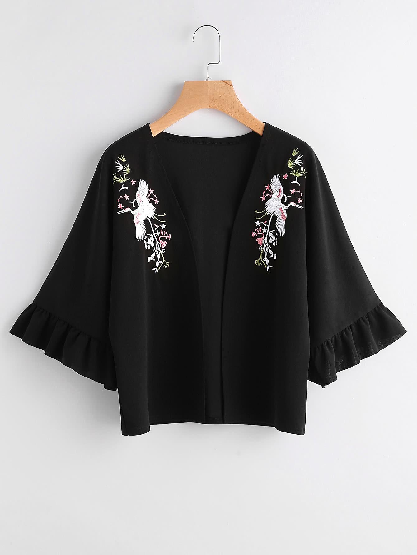 Фото Crane Embroidered Trumpet Sleeve Kimono. Купить с доставкой