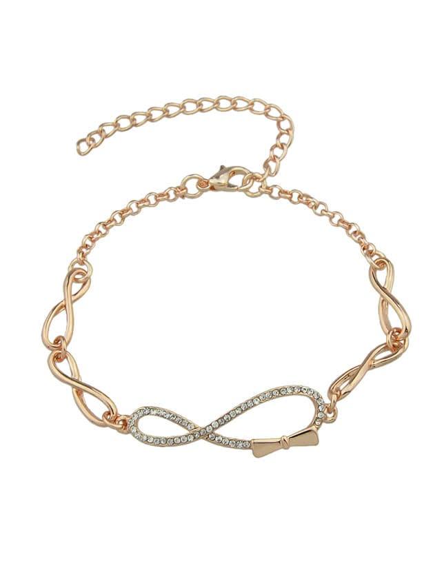 Фото Trendy Rose Gold Rhinestone Bow Shape Chain Link Bracelet. Купить с доставкой