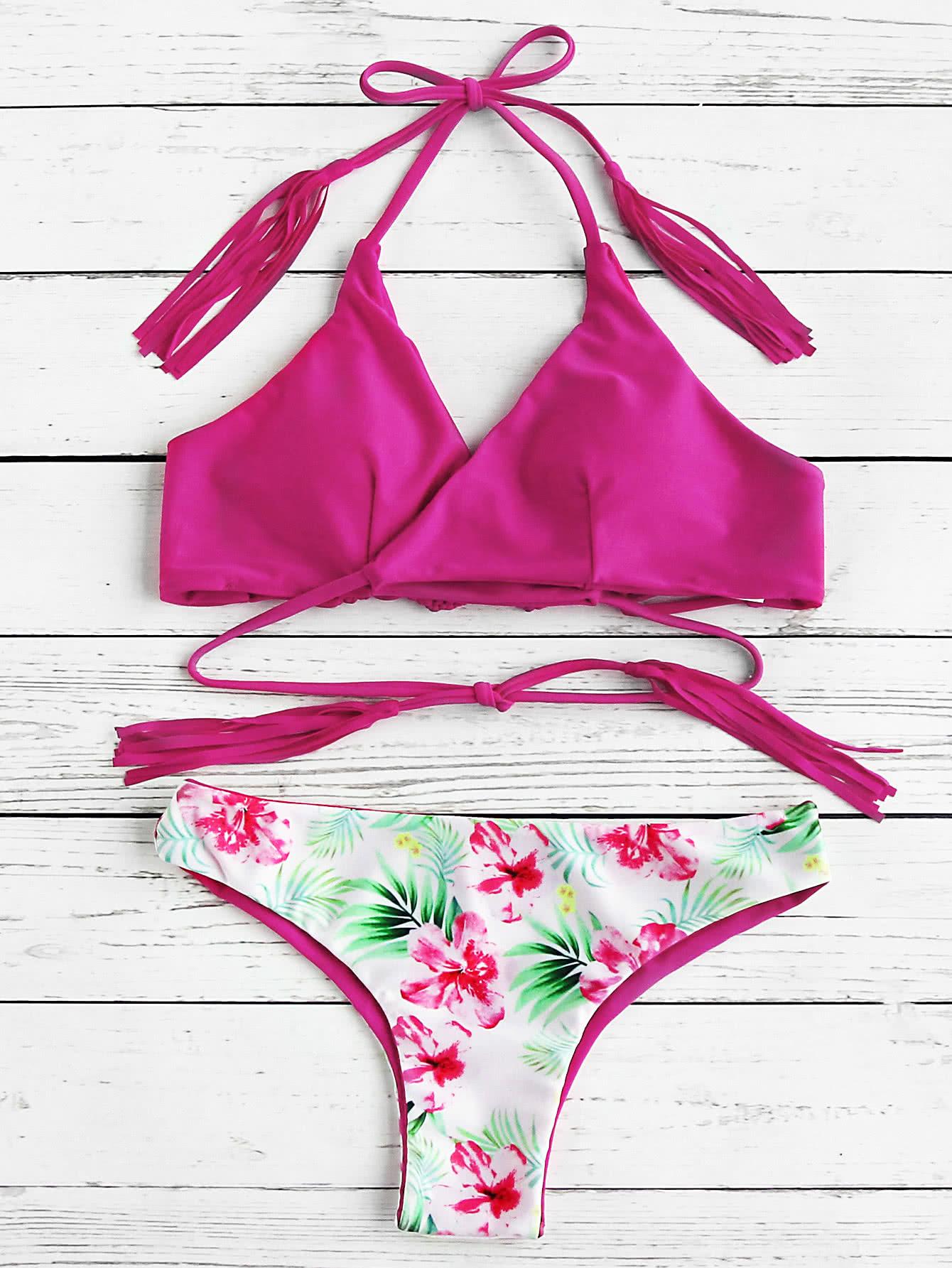Calico Print Tassel Tie Bikini Set swimwear170531312