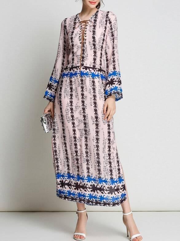 Фото Lace Up Neck Print Split Dress. Купить с доставкой