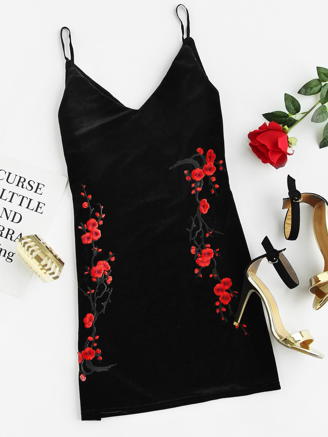Plum Blossom Embroidered Velvet Cami Dress ethnic embroidered black cami dress for women