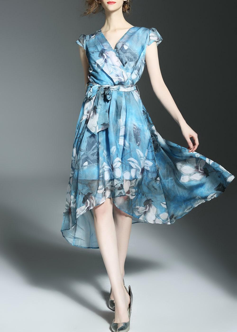 Фото V Neck Flowers Print High Low Dress. Купить с доставкой