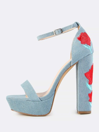Denim Platform Embroidered Heels DENIM