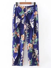 Knot Front Wide Leg Floral Pants