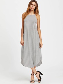 Striped Curved Hem Cami Dress