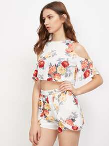 Open Shoulder Floral Top With Ruffle Trim Shorts