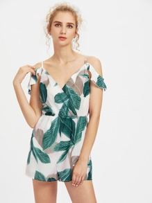 Plunging V-Neckline Ruffle Trim Playsuit