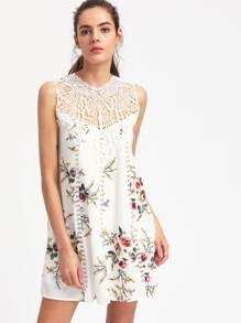 Hollow Out Lace Panel Florals Dress
