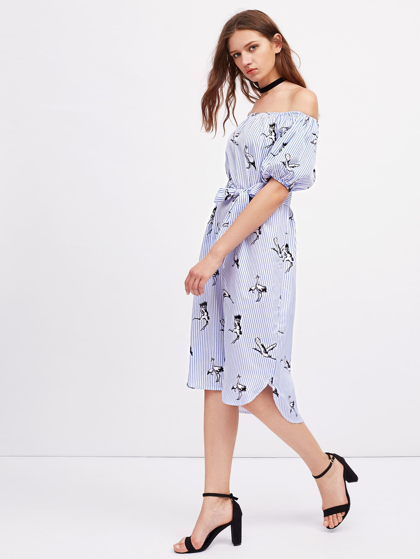Фото Bardot Lantern Sleeve Self Tie Cranes Print Dress. Купить с доставкой
