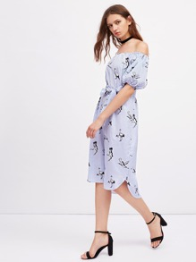 Bardot Lantern Sleeve Self Tie Cranes Print Dress