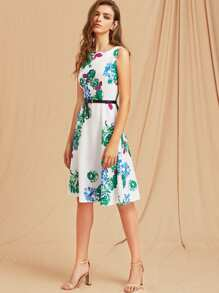 Flowers Print A-Line Dress With Belt