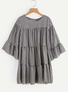 Gingham Tiered Bell Sleeve Dress