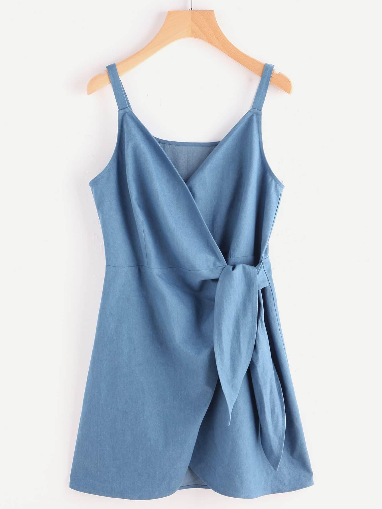 Фото Self Tie Wrap Chambray Cami Dress. Купить с доставкой