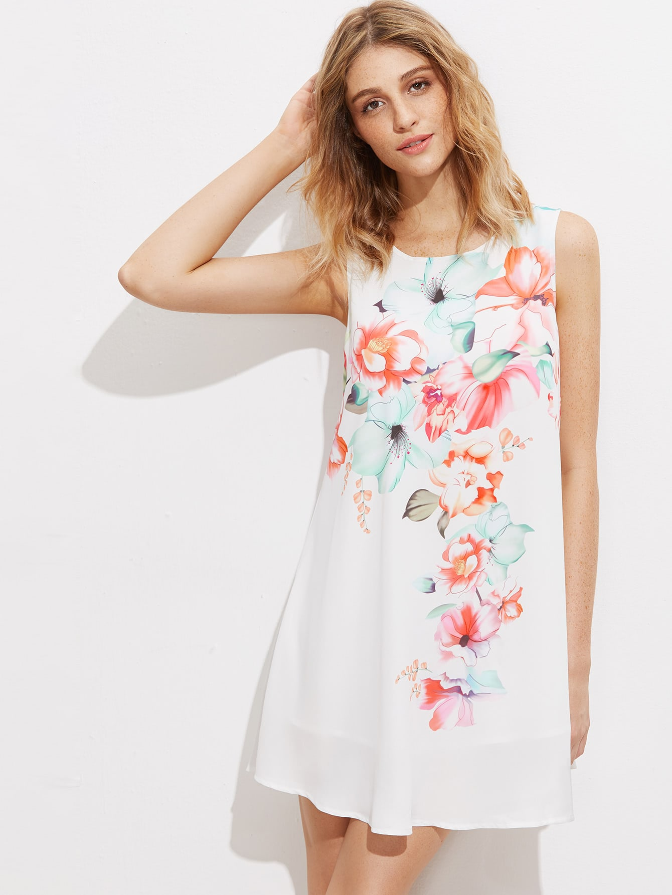 Фото Flower Print Curved Longline Swing Tank Top. Купить с доставкой