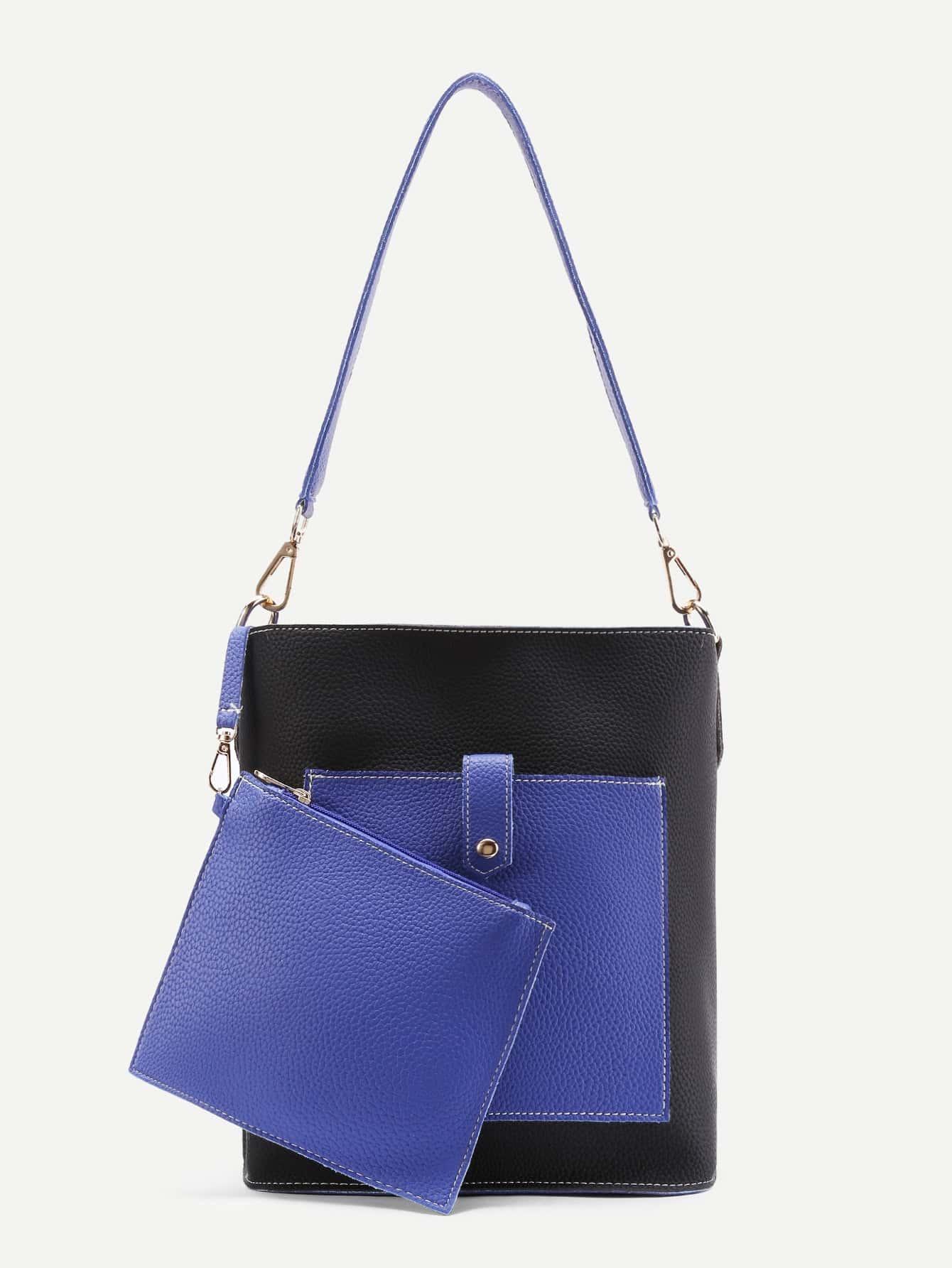 Фото Two Tone Tote Bag With Clutch. Купить с доставкой