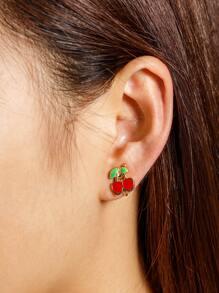 Boucle d'oreille à forme de cerise 1pièce