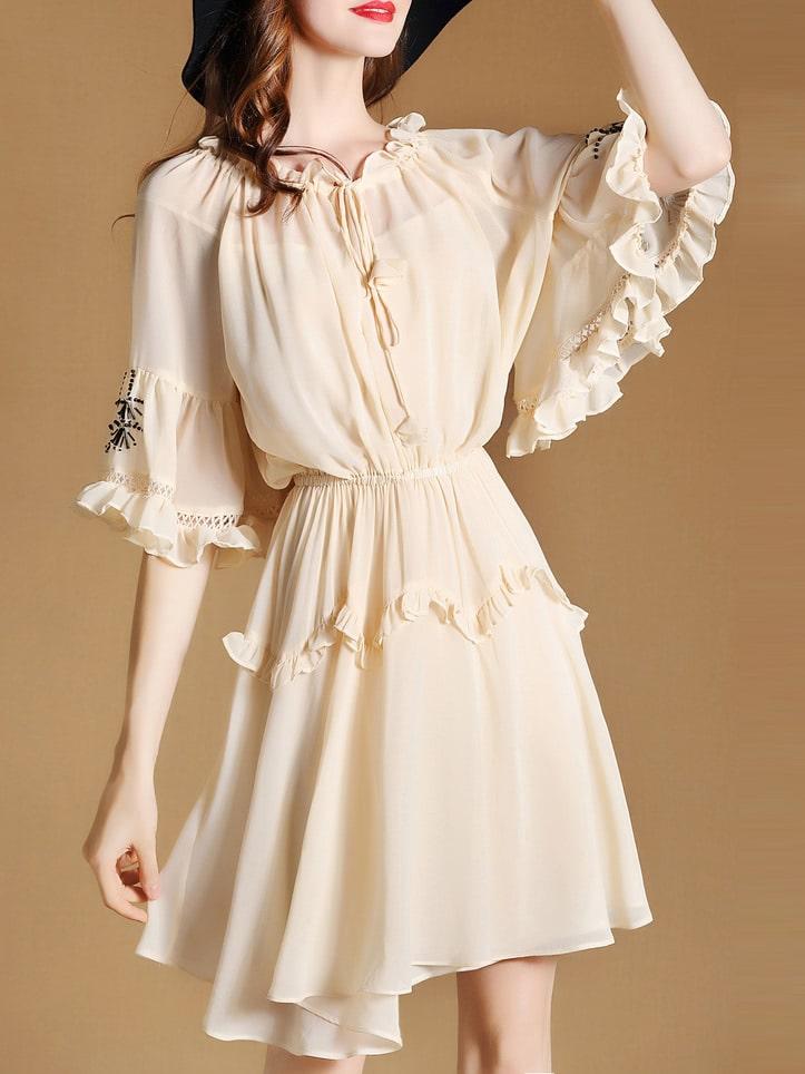 Фото Tie Neck Beading Flounce Mesh Dress. Купить с доставкой
