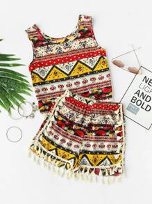 Tribal Print Fringe Trim Tank Top With Shorts