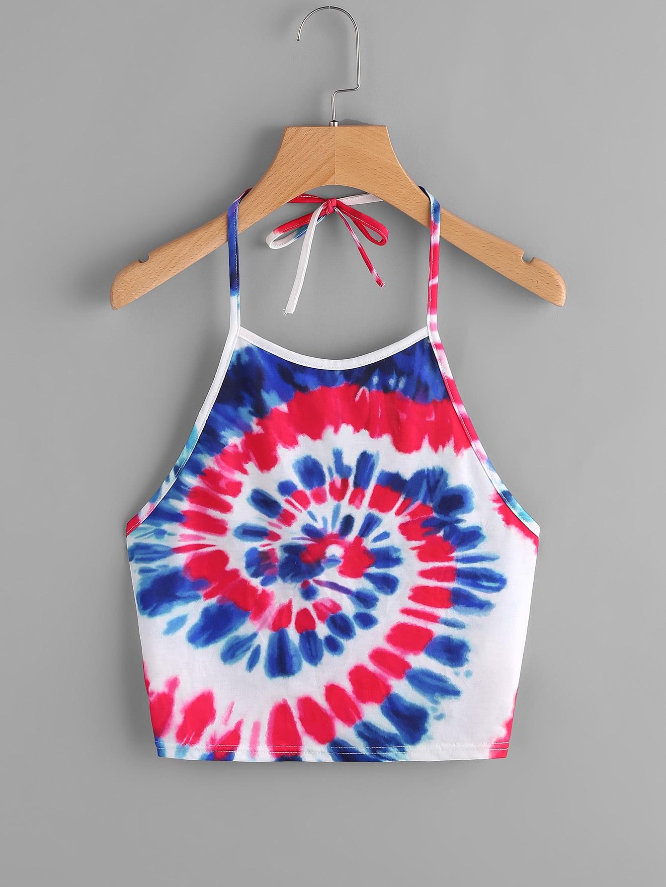 Spiral Tie Dye Print Tie Halter Top tie dye print halter neck top