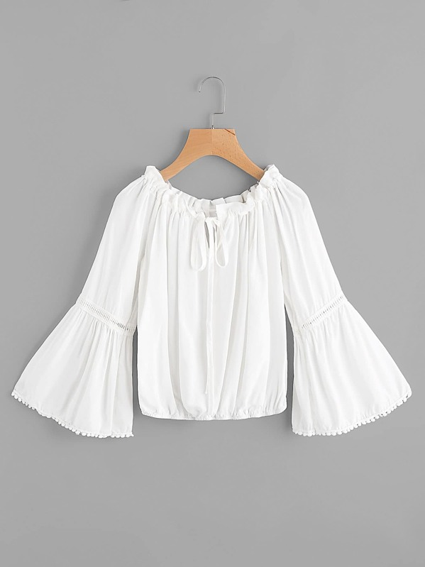 Contrast Lace Tie Front Bell Sleeve Top, null