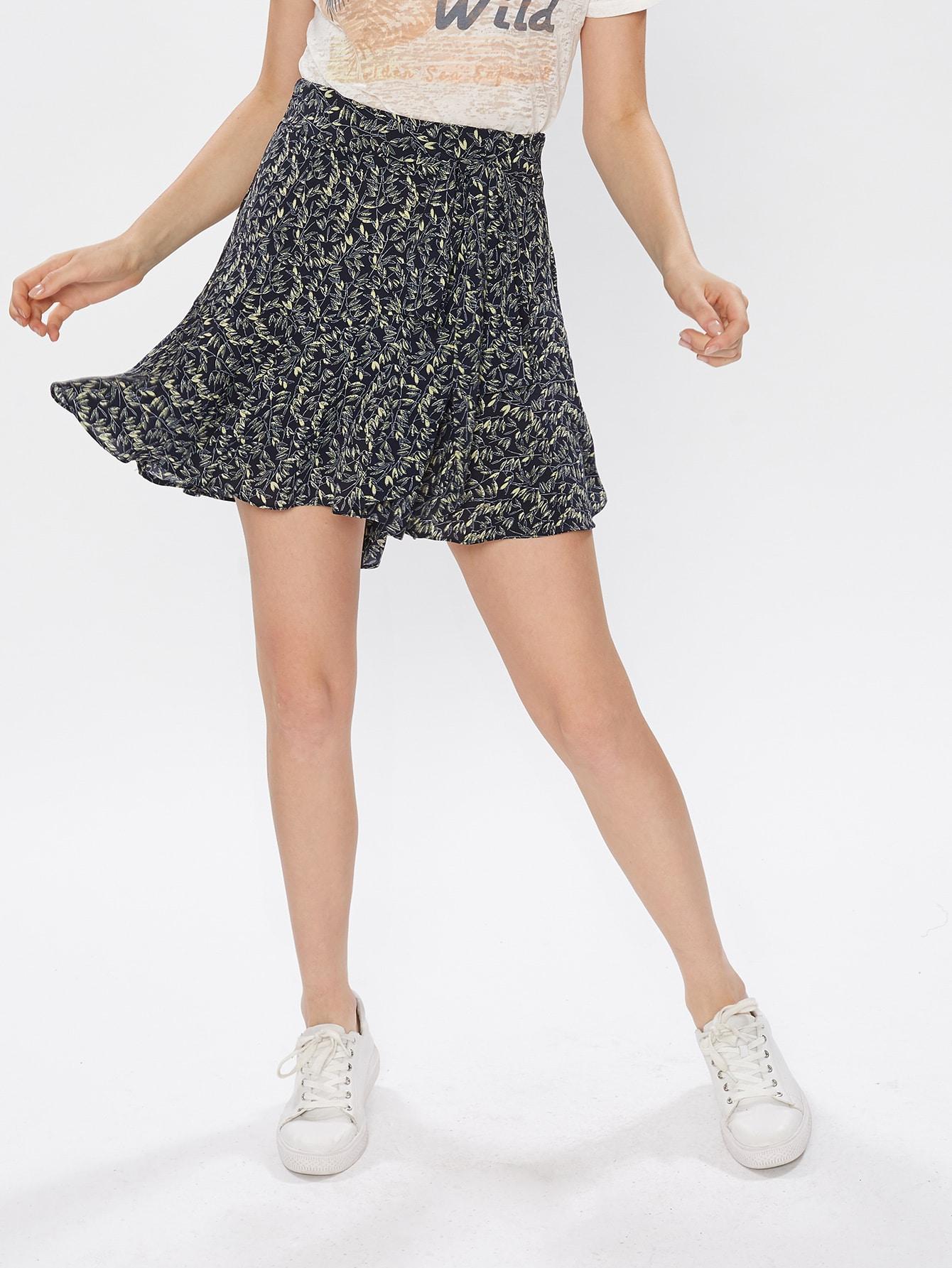 Фото Self Tie Leaf Print Swing Skirt. Купить с доставкой