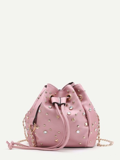 Модная сумка на кулиске с отделкой