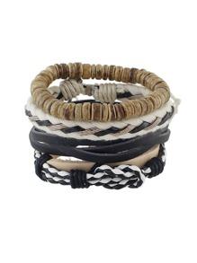 Bohemian 4 Pcs/Set Adjustable Pu Leather Wrap Bracelets Set