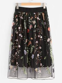 Модная сетчатая юбка с цветочной вышивкой