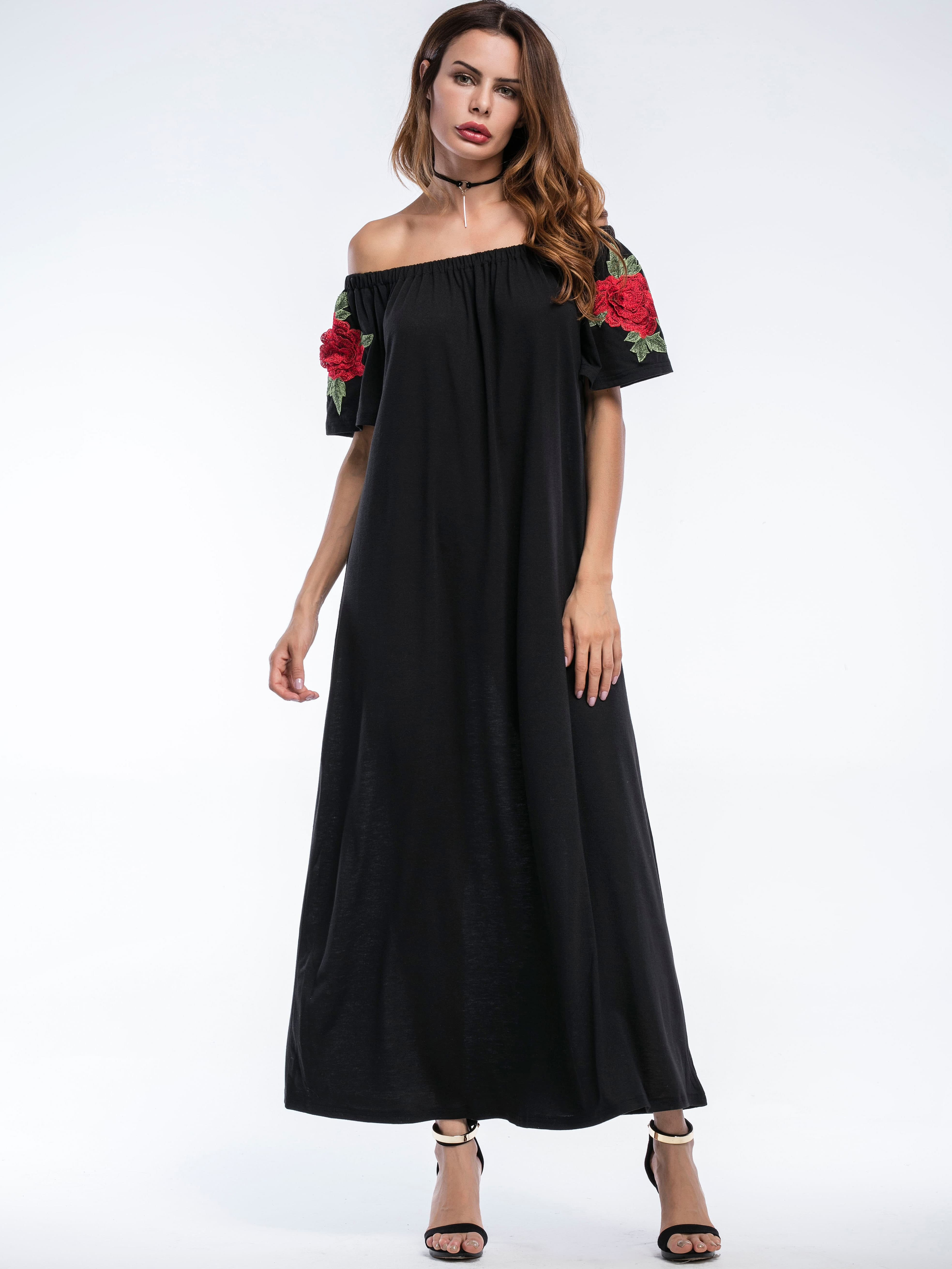 Bardot Embroidered Appliques Full Length Dress bardot embroidered appliques crop top