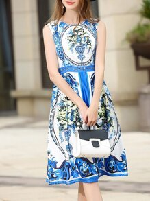 White and Blue Porcelain Dress