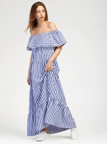Contrast Striped Flounce Layered Tiered Dress