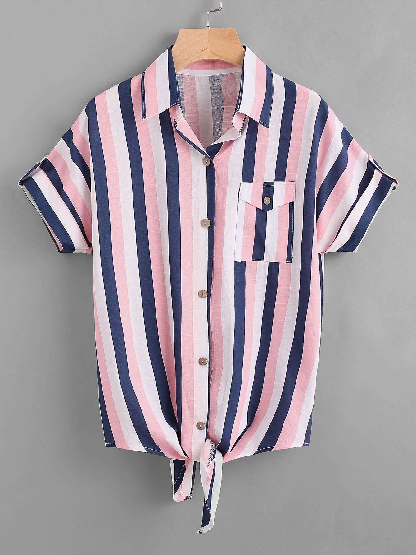 Фото Contrast Striped Knotted Hem Shirt. Купить с доставкой