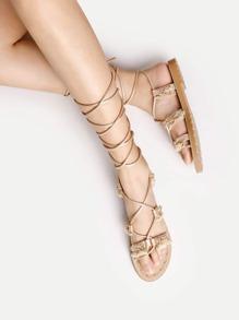 Sandales en strass à lacets