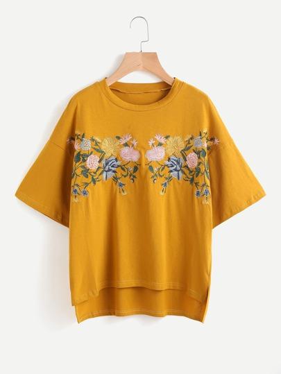 Embroidered Drop Shoulder Slit Side High Low Tee