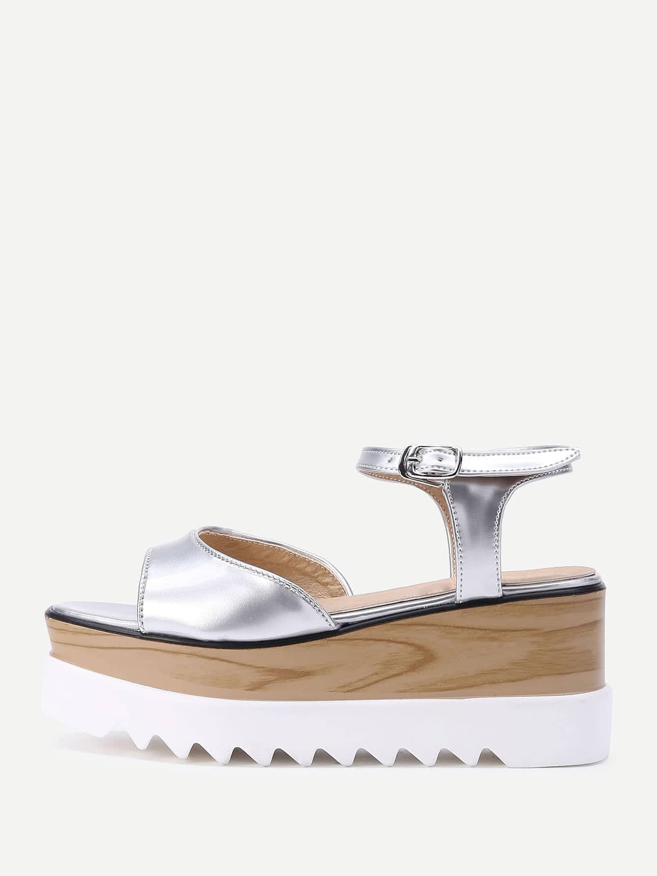 Фото Patent Leather Cork Heel Wedge Sandals. Купить с доставкой