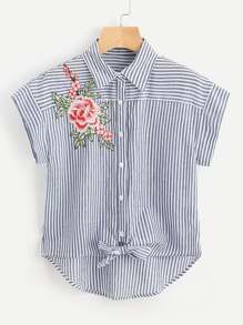 Embroidered Flower Applique Knot Front Striped Shirt