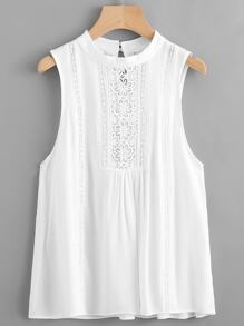 Contrast Crochet Lace Keyhole Back Tank Top