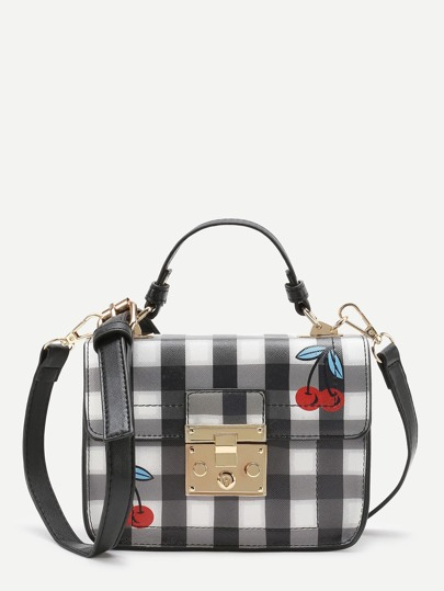 Cherry & Gingham Print Shoulder Bag
