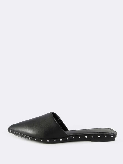 Faux Leather Point Toe Stud Slip Ons BLACK