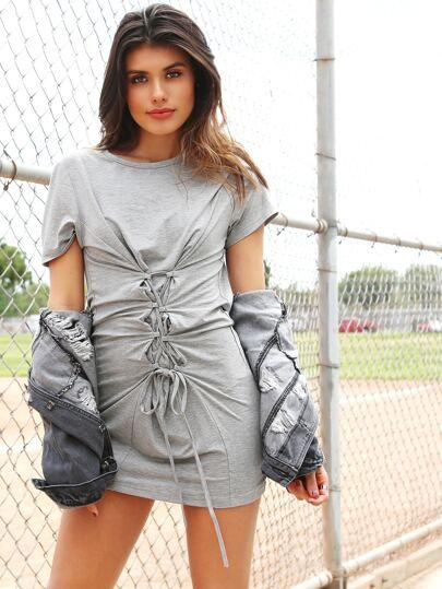 T-shirt vestito con laccetti sul davanti immagini