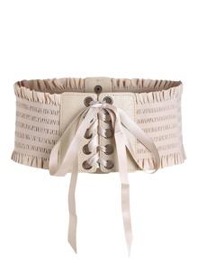Cinturón de fruncido con cordones en la parte delantera