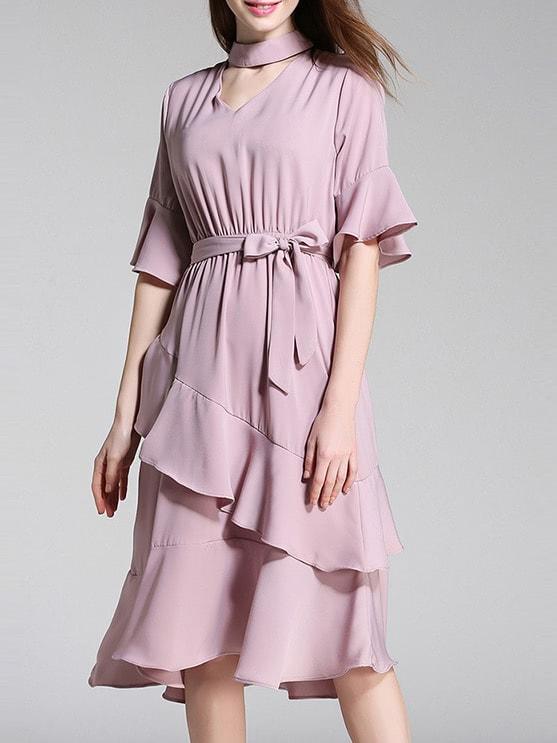 Choker Neck Bell Sleeve Ruffle Dress