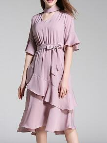 Choker Neck Bell Sleeve Ruffle Dress