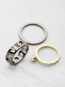 Set anillo con diseño de letra